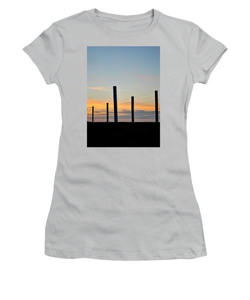 Fence Posts At Sunset Women's T-Shirt (Athletic Fit)