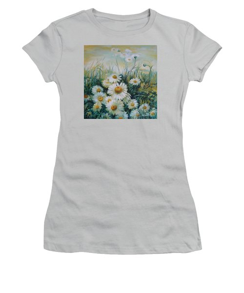 Women's T-Shirt (Junior Cut) featuring the painting Field Of Flowers by Elena Oleniuc
