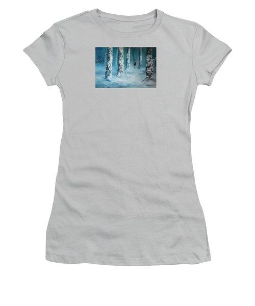 First Trodden Snows Women's T-Shirt (Junior Cut) by Jean Walker