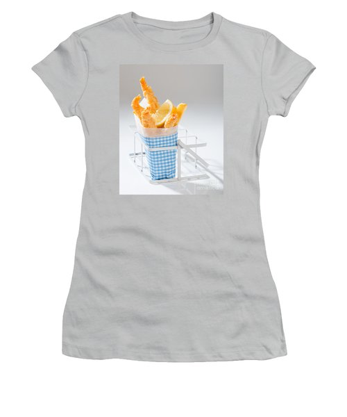 Fish And Chips Women's T-Shirt (Junior Cut) by Amanda Elwell