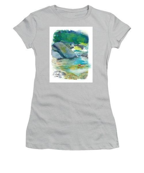 Women's T-Shirt (Junior Cut) featuring the painting Fishin' Hole by C Sitton