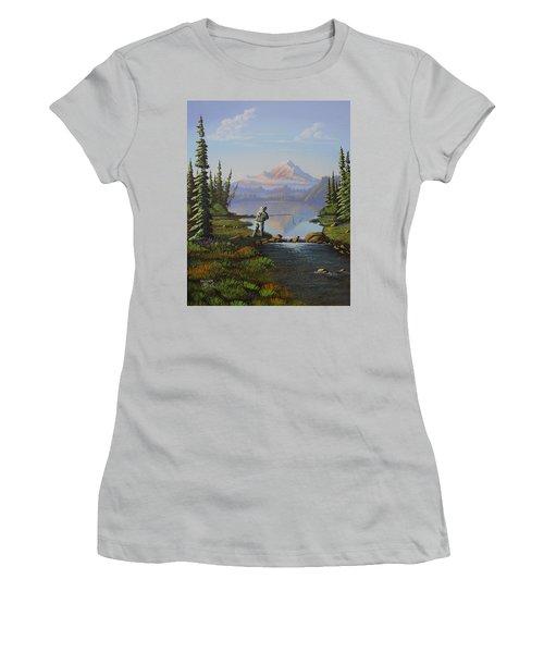 Fishing The High Lakes Women's T-Shirt (Junior Cut) by Richard Faulkner