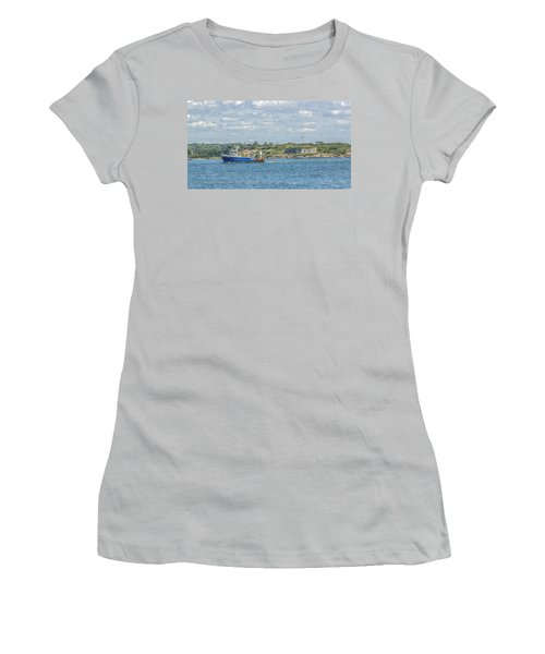 Women's T-Shirt (Junior Cut) featuring the photograph Fishing Trawler Coming Into Port by Jane Luxton