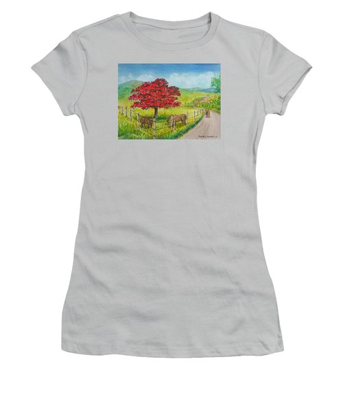 Flamboyan And Cows In Western Puerto Rico Women's T-Shirt (Athletic Fit)