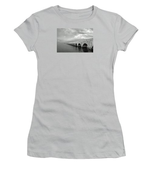 Florida Keys Seven Mile Bridge Black And White Women's T-Shirt (Junior Cut) by Photographic Arts And Design Studio