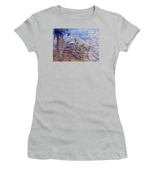 Women's T-Shirt (Junior Cut) featuring the photograph Florida Wetlands Wading Heron by David Mckinney