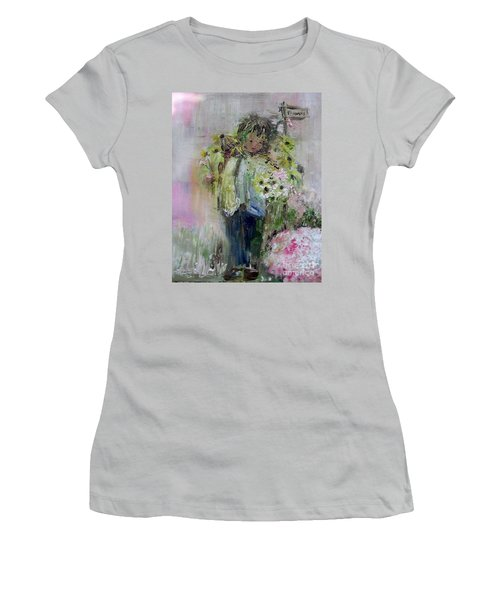 Women's T-Shirt (Athletic Fit) featuring the painting For My Mother by Laurie L