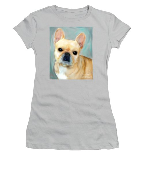 Women's T-Shirt (Junior Cut) featuring the painting French Bulldog Mystique D'or by Barbara Chichester