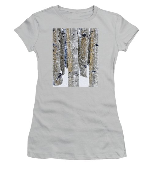 Gently Falling Forest Snow Women's T-Shirt (Junior Cut) by Don Schwartz