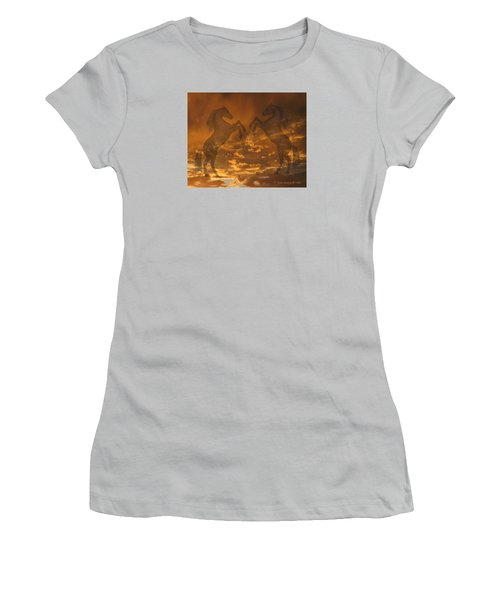 Ghost Horses At Sunset Women's T-Shirt (Junior Cut) by Donald and Judi Hall
