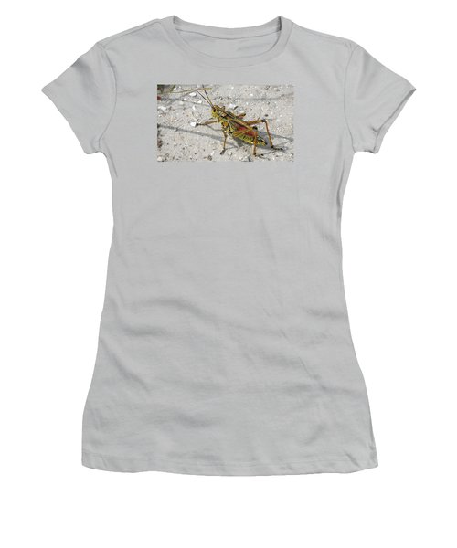 Women's T-Shirt (Junior Cut) featuring the photograph Giant Orange Grasshopper by Ron Davidson