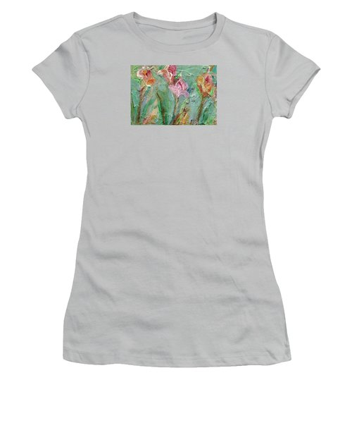 Women's T-Shirt (Junior Cut) featuring the painting Grace's Garden by Mary Wolf