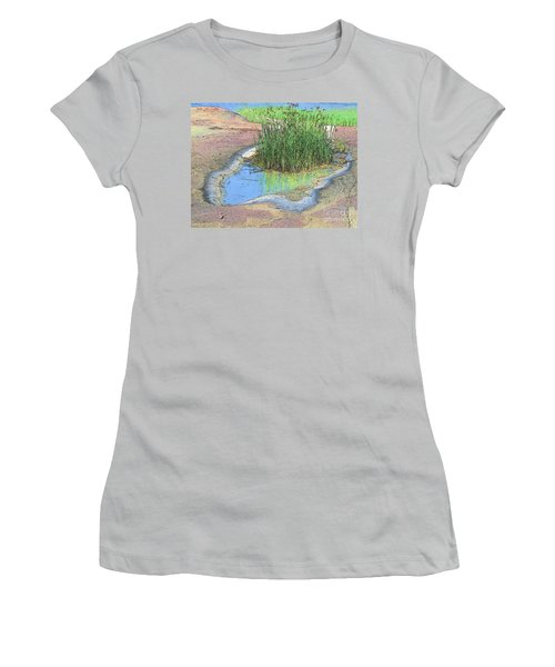 Grass Growing On Rocks Women's T-Shirt (Junior Cut) by Teresa Zieba