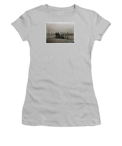 The Wright Brothers Group Portrait In Front Of Glider At Kill Devil Hill Women's T-Shirt (Junior Cut) by R Muirhead Art