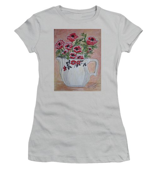 Hall China Red Poppy And Poppies Women's T-Shirt (Junior Cut) by Kathy Marrs Chandler