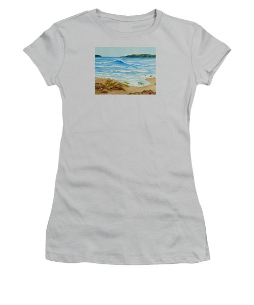 Women's T-Shirt (Junior Cut) featuring the painting Hello? by Katherine Young-Beck