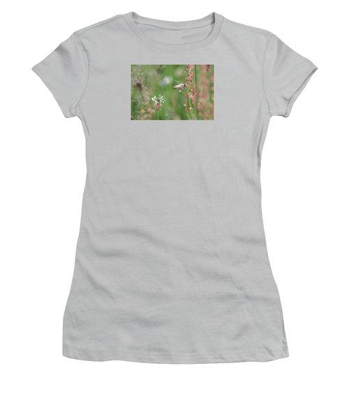 Honeybee Flying In A Meadow Women's T-Shirt (Junior Cut) by Lucinda VanVleck
