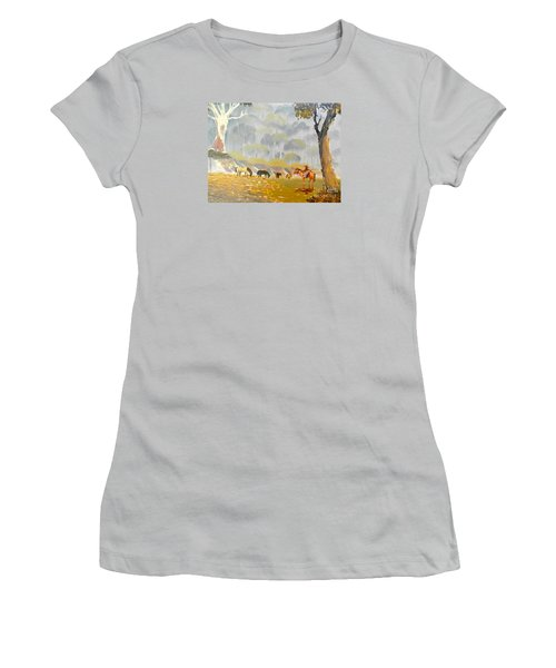 Horses Drinking In The Early Morning Mist Women's T-Shirt (Athletic Fit)