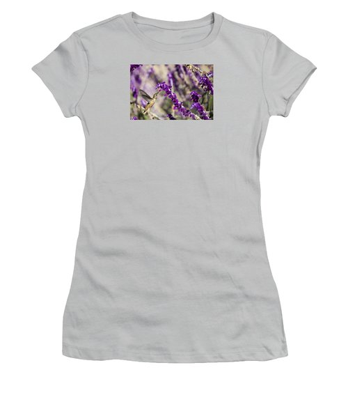 Women's T-Shirt (Junior Cut) featuring the photograph Hummingbird Collecting Nectar by David Millenheft