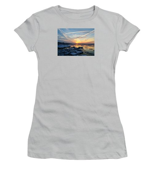 Ice On The Delaware River Women's T-Shirt (Junior Cut) by Ed Sweeney
