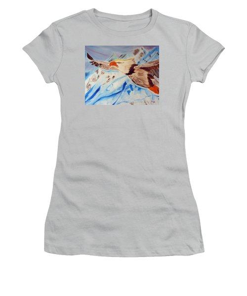 Icy Blue Women's T-Shirt (Junior Cut) by Meryl Goudey