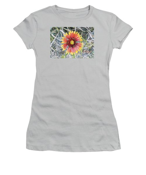 Women's T-Shirt (Junior Cut) featuring the painting Indian Blanket by Joshua Martin