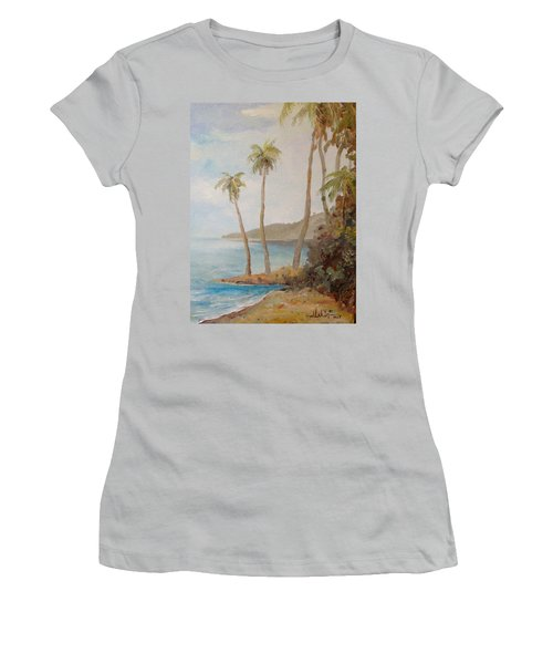 Women's T-Shirt (Junior Cut) featuring the painting Inside The Reef by Alan Lakin