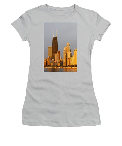 John Hancock Center Chicago Women's T-Shirt (Junior Cut) by Adam Romanowicz
