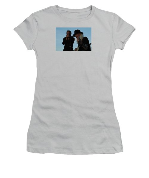 Women's T-Shirt (Junior Cut) featuring the photograph Johnny Winter And James Montgomery Playing The Blues by Mike Martin