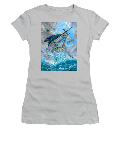 Jumping White Marlin And Flying Fish Women's T-Shirt (Athletic Fit)