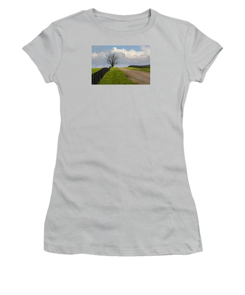Kentucky Horse Farm Road Women's T-Shirt (Athletic Fit)
