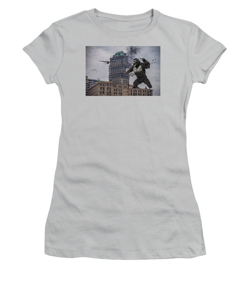 Women's T-Shirt (Junior Cut) featuring the photograph King Kong In Detroit At Wurlitzer by Nicholas  Grunas