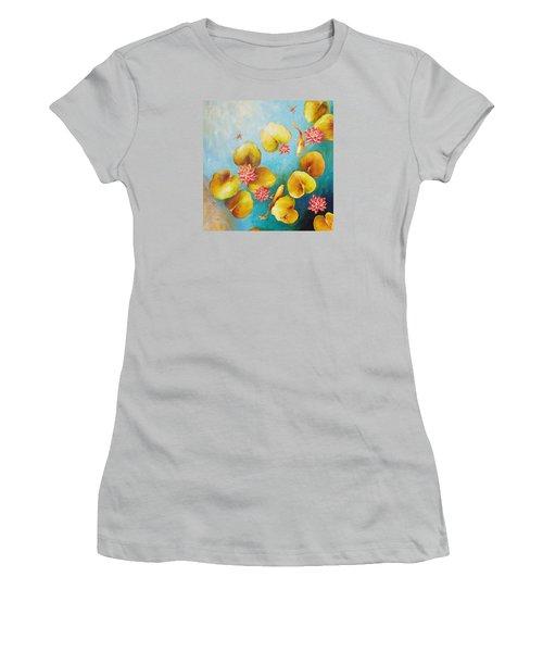 Koi Pond Women's T-Shirt (Junior Cut) by Dina Dargo