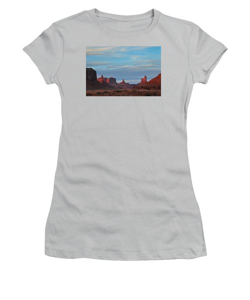 Women's T-Shirt (Junior Cut) featuring the photograph Last Light In Monument Valley by Alan Vance Ley