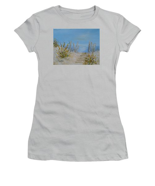 Women's T-Shirt (Junior Cut) featuring the painting Lbi Peace by Judith Rhue