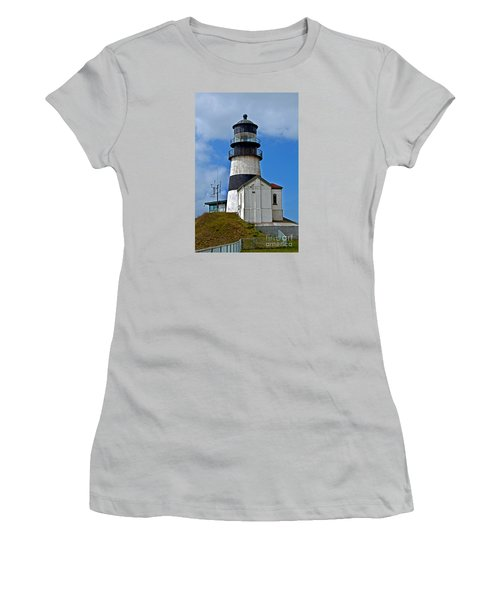 Lighthouse At Cape Disappointment Washington Women's T-Shirt (Athletic Fit)