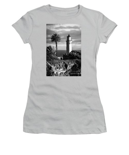 Women's T-Shirt (Junior Cut) featuring the photograph Lighthouse On The Bluff by Jerry Cowart