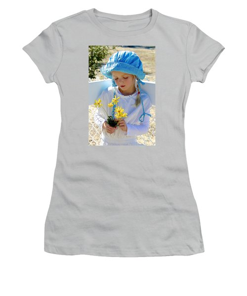 Little Girl Blue  Women's T-Shirt (Junior Cut) by Suzanne Oesterling