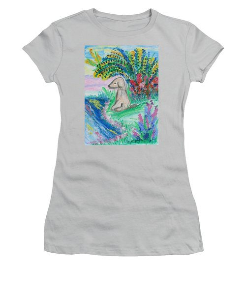 Women's T-Shirt (Junior Cut) featuring the painting Little Sweet Pea by Diane Pape