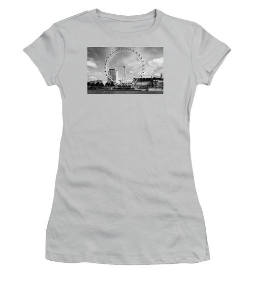 Women's T-Shirt (Junior Cut) featuring the photograph London Eye Head-on Bw by Matt Malloy