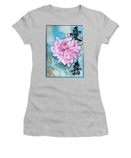 Women's T-Shirt (Junior Cut) featuring the mixed media Love Double Happiness With Red Peony by Peter v Quenter