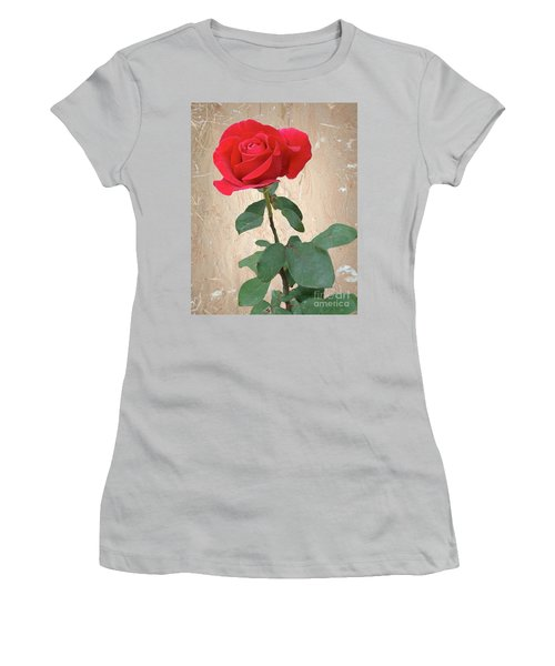 Love Is Like A Red Red Rose Women's T-Shirt (Junior Cut) by Janette Boyd