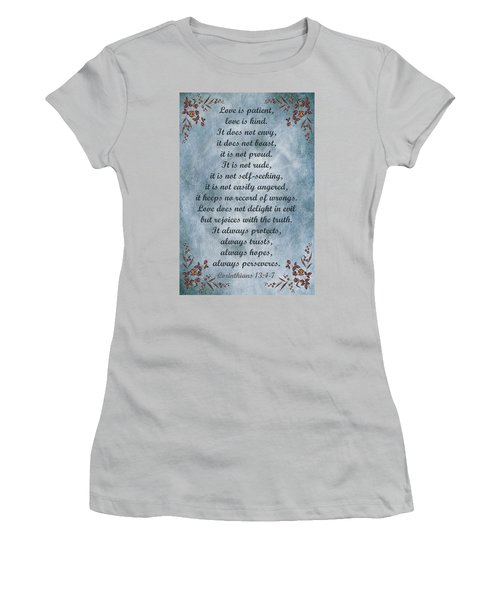 Love Is Patient Clouds Gold Leaf Women's T-Shirt (Junior Cut)