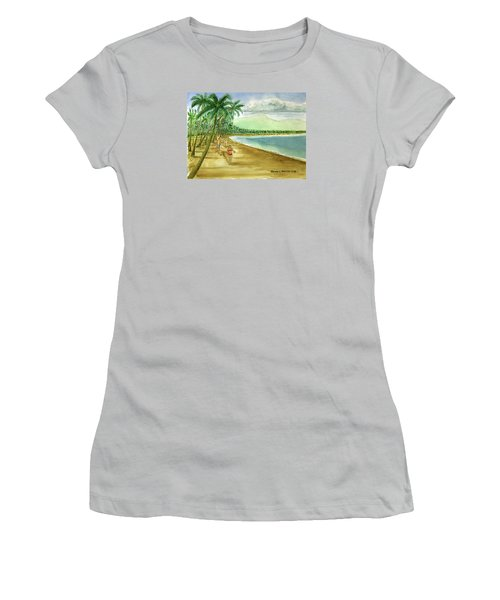 Luquillo Beach And El Yunque Puerto Rico Women's T-Shirt (Junior Cut) by Frank Hunter