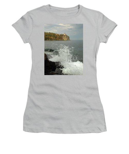 Women's T-Shirt (Junior Cut) featuring the photograph Making A Splash At Split Rock Lighthouse  by James Peterson