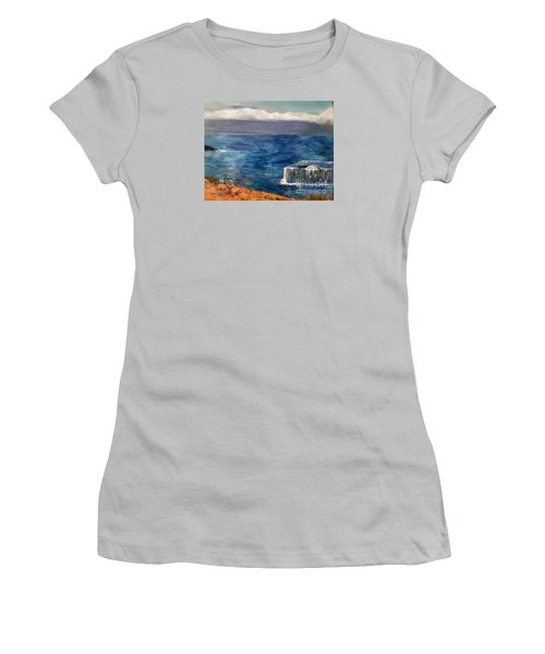 Women's T-Shirt (Junior Cut) featuring the painting Frida Goes To Maui by Vanessa Palomino