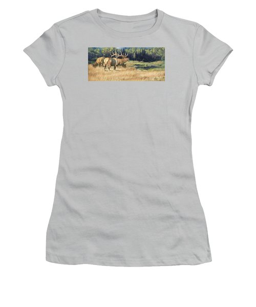 Women's T-Shirt (Junior Cut) featuring the painting Meadow Music by Rob Corsetti