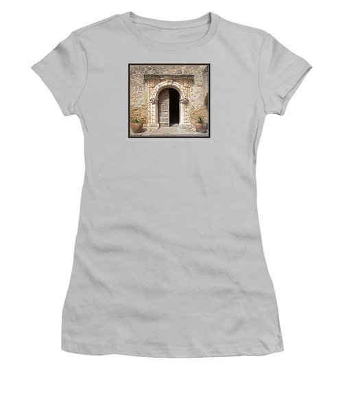Mission San Jose Chapel Entry Doorway Women's T-Shirt (Junior Cut) by John Stephens