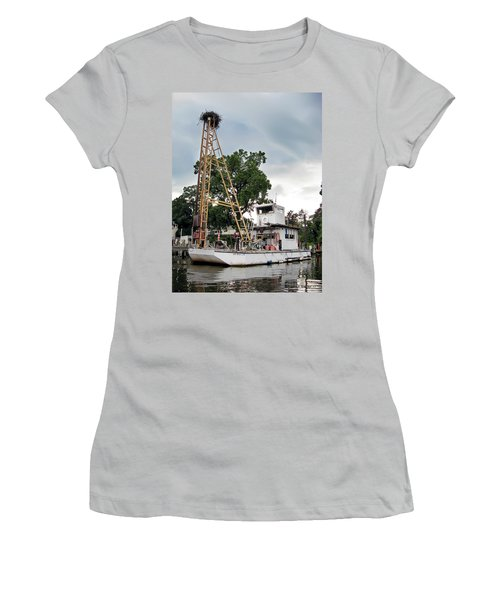 Women's T-Shirt (Junior Cut) featuring the photograph Mobile Osprey Nest by Brian Wallace