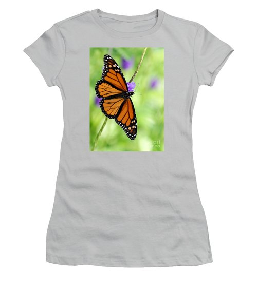 Monarch Butterfly In Spring Women's T-Shirt (Athletic Fit)